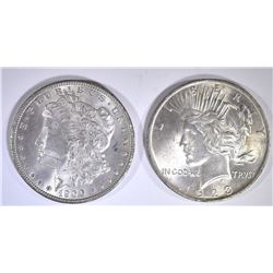 1900 MORGAN DOLLAR BU & 1923 PEACE DOLLAR BU