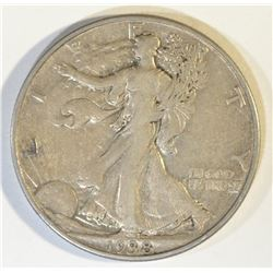 1938-D WALKING LIBERTY HALF DOLLAR, XF