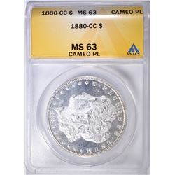 1880-CC MORGAN DOLLAR ANACS MS-63 CAMEO PL