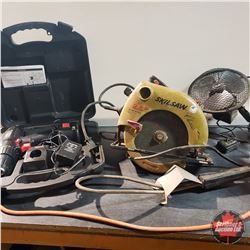 Box Lot - Variety Tools: Skil Saw, 12v Fan, Pail Water Heater, Cordless Drill