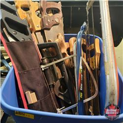 Tote Lot: Variety of Hand Saws