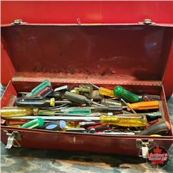 Metal Tool Box with Contents : Large Variety Screwdrivers