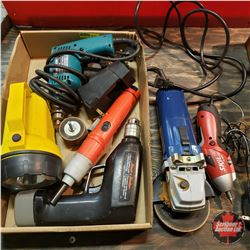 Tray Lot: Variety Tools (Angle Grinder, Makita Drill, Cordless Screwdrivers, Flashlight, etc)
