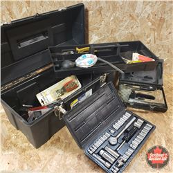 "Plastic Tool Box w/Contents: Gear Wrenches, Vise Grips, 3/8"" & 1/4"" Drive Socket Set, Staple Gun, et"