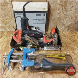 Tray Lot: Electric Drill, Wood Vise, Wood Planes, Belt Wrenches