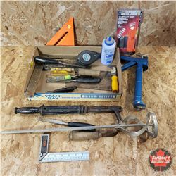 Tray Lot: Caulking Gun, Chalk Line, Putty Knives, Square, Nail Puller, Etc