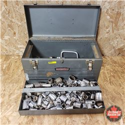 "Metal Craftsman Tool Box with Contents : Large Variety 1/2"" Drive & 3/8"" Drive Sockets & Ratchets"