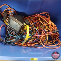 Tote Lot: Variety of Extension Cords & Halogen Work Light