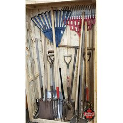 Garden Shed in a Box ! Variety of 15 Long Handled Tools ! (Rakes, Shovels, Hoes, Forks, Post Hole Di