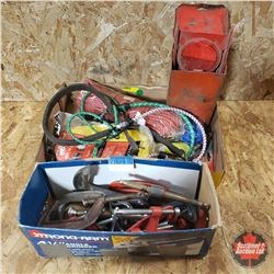 Tray Lot: Variety Rope, Bunge Cords, C Clamps, Road Flares