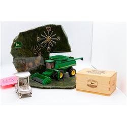 John Deere stone clock, golf cart clock and card box