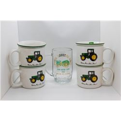 4 John Deere mugs and glass mug