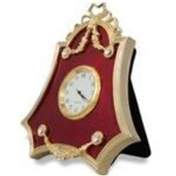 "4"" Faberge-Inspired Red Enameled Guilloche Russian Antique Style Clock"