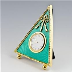 "5"" Green Triangle Enameled Guilloche Russian Antique Style Faberge-Inspired Clock"