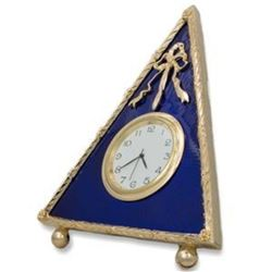 5  Faberge-Inspired Blue Triangle Enameled Guilloche Russian Antique Style Clock