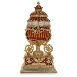 1899 Bouquet Of Lilies Clock Faberge-Inspired Egg