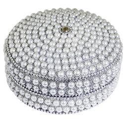 India Arts & Crafts Beaded Pearl Jewel Box Trinket Case