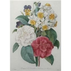After Pierre-Jospeh Redoute, Floral Print, #13 Bouquet de Camelias, Narcisses et Pensees
