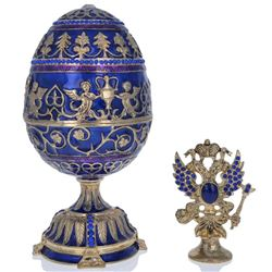 """1912 Tsarevich Faberge-Inspired Egg 5.5"""""""