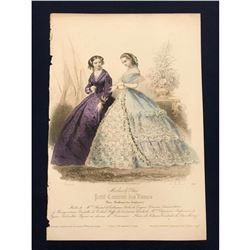 19thc French Hand-colored Engraving, Fashion Plate,