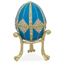"3.15"" Crystal Rhombus On Blue Enamel Faberge Inspired Egg"
