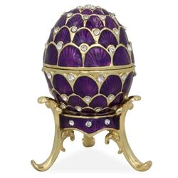 "2.25"" Crystal Purple Arches Enameled Faberge Inspired Easter Egg"