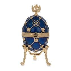 "4.8"" Russian Coat Of Arms Blue Royal Inspired Russian Faberge-Inspired Egg"