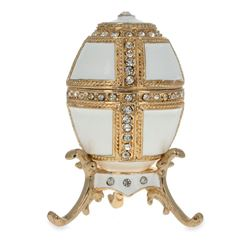 Faberge Inspired 1890 Danish Palaces Royal Russian Egg in White