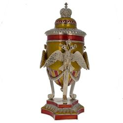 "Faberge Inspired 7"" Russian Imperial Double-Headed Eagle Royal Inspired Egg"