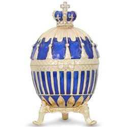 Faberge Inspired 1885 Blue Enamel Ribbed Royal Russian Egg