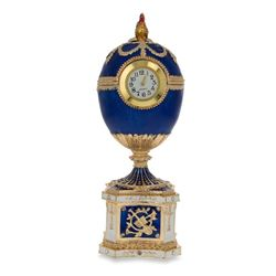 Faberge Inspired 1904 Kelch Chanticleer Blue Enamel Royal Russian Egg with Clock