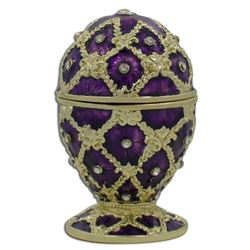 "Faberge Inspired 2.5"" Purple Trellis Royal Inspired Russian Easter Egg"