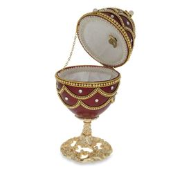 "Faberge Inspired 5.4"" Real Eggshell Royal Inspired Russian Egg with Music Box"