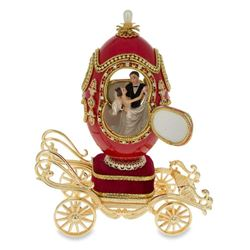 "Faberge Inspired 7.1"" Royal Wedding Coach Royal Inspired Russian Egg with Music Box"
