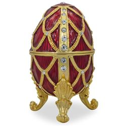 "Faberge Inspired 4"" Golden Trellis Crimson Enamel Royal Inspired Russian Egg"