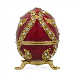 Oriental Style Red Enamel Royal Inspired Russian Easter Egg 2.75 Inches