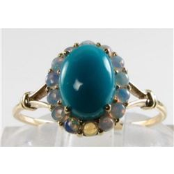 English 9K Gold Persian Turquoise & Australian Opal Cocktail Ring