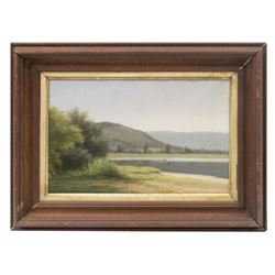 Attrib. Max Eglau (1825-1896) Hills, Lake Painting