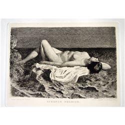 Antique 1886 Litograph Sleeping Nude Nereid Etching Bobrof Ruhende Nereide