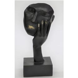 """Bronze Metal Sculpture Hand Over Face Mask Dali Surreal Abstract Thinker Disembodied Head 15.5"""" x 6"""