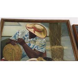 20thc Oil Painting, Charleston Sweetgrass Basket Weaver