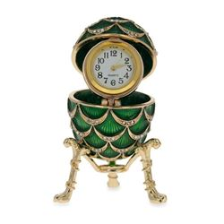 """Faberge Inspired 2.7"""" Royal Inspired Pinecone Russian Egg with Clock"""