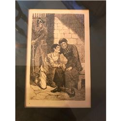 Signed Antique French Etching, Prisoner at Confession