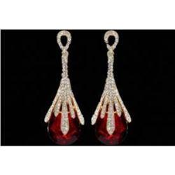 18K Gold Plated GP Red Crystal Rhinestone Wedding Drop Dangle Earrings
