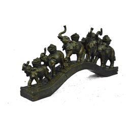 "Lucky Bronze Sculpture of 5 Elephants Crossing a Bridge 7"" x 14"""