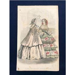 19thc Hand-colored Engraving, Home Magazine Fashion