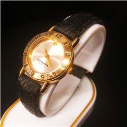 Ladies Milan Quartz Gold Tone Watch With Stitched