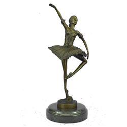 """Graceful Prima Ballerina Dancer Bronze Sculpture 13"""" x 7"""""""