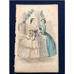 19thc French Hand-colored Engraving, Fashion Plate, Le