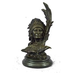 "Bronze Bust Sculpture of Native American Indian Chief Feathered War Bonnet 13"" x 6"""